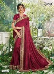 Red Color Swarovski Work Saree