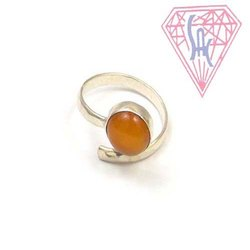 Carnelian Gemstone Ring  Jewelry with silver plated