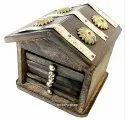 Wooden Hut Tea Coaster Antique Gold Finish Table Decorative Showpiece