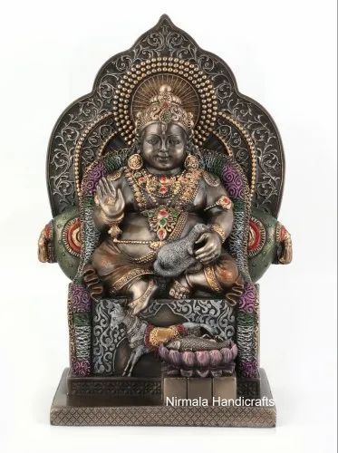 Copper Finish Kuber Ji Statue Indian God Idol Figurine