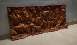Ujwala Arts 4 Feet 3D Rock Aquarium Background for Fish Tank, Packaging Type: Box