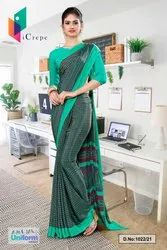 Green Border Small Print Premium Italian Silk Crepe Saree For Hospital Uniform Sarees 1022