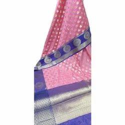 Pink Pan India Fancy Banarasi Cotton Zari Buti Satan Border Saree