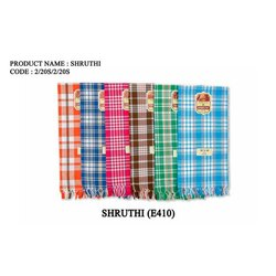 Stripped Shruthi Cotton Check Towel, 140 GSM, Size: 28x56 Inches