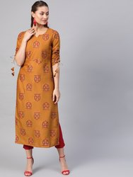 La Firangi Women Mustard Yellow & Red Printed Straight Kurta