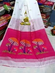 TM House Casual Wear Printed Silk Cotton Sarees With Blouse Piece, 6.5m