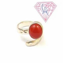 Carnelian Gemstone Silver Ring with Silver Plated