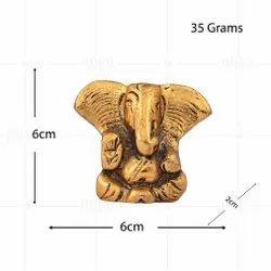 Gold Plated Car Ear Ganesh