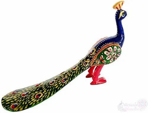 Metal Meenakari Peacock Statue Enamel Work