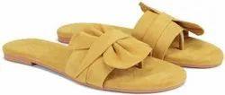 Flat Daily wear Ladies Abon Yellow Fancy Slipper