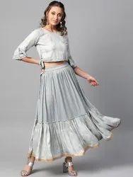 La Firangi Women Grey & Golden Printed Top With Skirt