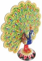 Muilty Handmade Metal Meenakari Dancing Peacock statue Enamel Work Figurine, Box Packing, Size/Dimension: 4''