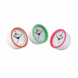 Analog White 5 Inch Dial Chipper Fluorescent Ring Table Clock, For Office, Shape: Round
