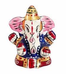 Metal Meenakari Saffa Ganesha Statue Enamel Work
