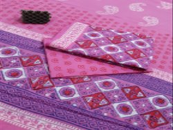 Purple Natural Bagru Hand Block Printed Cotton Dress Material With Cotton Dupatta