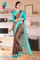 Brown Sea Green Premium Italian Silk Crepe Saree For Receptionist Uniform Sarees