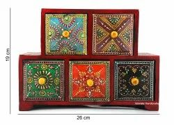 Elegant Wooden Jewellery Box Handpainted/Wooden Chest of Drawer/ 5 Drawers/Wooden Vanity Box