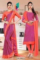 Wine Pink Premium Italian Silk Crepe Saree For Hotel Uniform Sarees