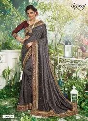 Grey Color Swarovski Work Saree