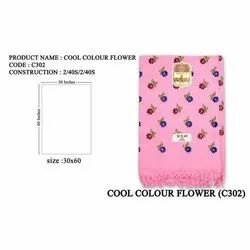 Printed Cotton Cool Color Flower Print Towel, Rectangular, Size: 30x60 Inches