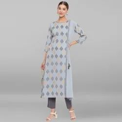 Janasya Women's Powder Blue Poly Crepe Kurta(JNE3475)