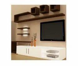 Brown and White Designer Aluminium TV Unit, For Residential