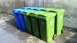 Nilkamal 120 Ltr Wheel Garbage Dustbin Green & Blue