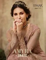 Glossy Simar Amyra Shaivi Net Embroidery Festival Wear Long Suits Catalog