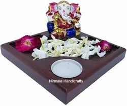 Metal Meenakari Ganesha With Candle Try Set