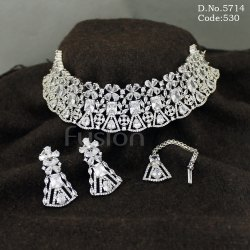 American Diamond Choker Necklace Set