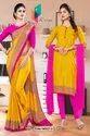 Yellow Rani Premium Italian Silk Crepe Uniform Sarees For Annual Function