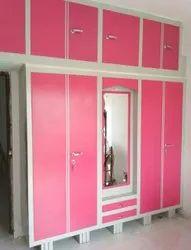 Dabhoiwala Stainless Steel Pink Double Door Modular Wardrobe, For Home