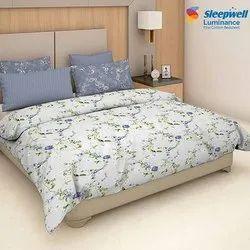 Printed Sleepwell Luminance Cotton Bed Sheet, Size: 274x274cm