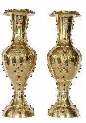 Brass Flower Vase Stone Work Decorative Showpiece