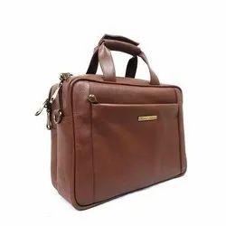 Unisex Plain Shiwakoti Leather Brown Office Bag, Size: 15.5*11.5*4 Inches (bag)