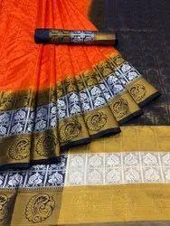Formal Wear Printed NEW LAUNCHING BANARASI SILK CHIT PALLU SAREE