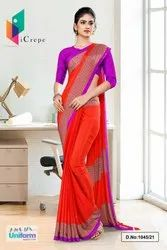 Tomato Lavender Premium Italian Silk Crepe Uniform Sarees For Office Wear 1045