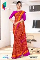 Orange Wine Paisley Print Premium Italian Silk Crepe Uniform Sarees For Teachers