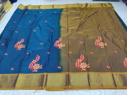 Multicolor Party Wear Semi Silk Embrodiery Saree, 6 m (with blouse piece)