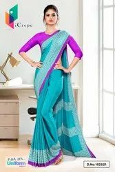 Sea Green lavender Premium Italian Silk Crepe Saree For Workers Uniform Sarees 1033
