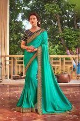 Rama Color Vichitra Silk Saree