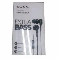Black Sony MDR XB75AP Extra Bass Wired Earphone