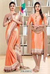 Peach Gray Premium Italian Silk Crepe Saree For School Uniform Sarees