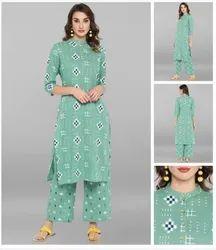 Casual Wear Ladies 3/4 Sleeve Cotton Kurti, Wash Care: Machine wash