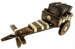 Wooden Baghhi Tea Coaster Home/ Table Decorative Showpiece