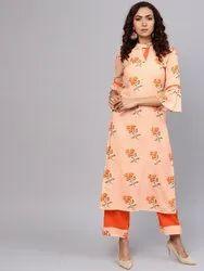 La Firangi Women Peach- Coloured & Orange Printed Kurta With Palazzos
