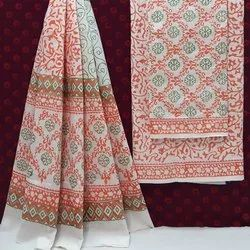 Exclusive Natural Hand Block Printed Cotton Dress Material With Cotton Dupatta