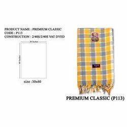 Cotton Premium Classic Check Towel, 140 GSM, Size: 30x60 Inches