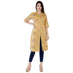 Cotton Casual Wear BST 175 Ladies V Neck Printed Rayon Kurti, Wash Care: Handwash