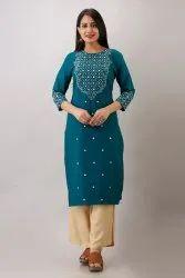 cotton satin Straight Gaurangi Kurtis mirror zari embroidered kurti, Wash Care: Handwash
